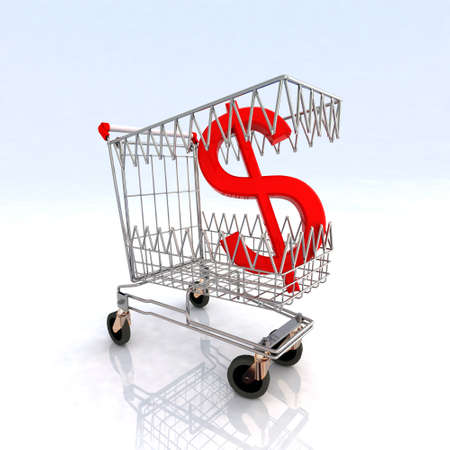 emergency cart: shopping cart that bites dollar symbol, 3d illustration