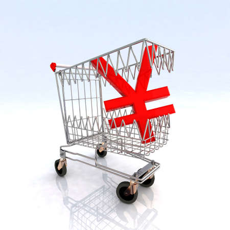 emergency cart: shopping cart that bites yen symbol, 3d illustration Stock Photo