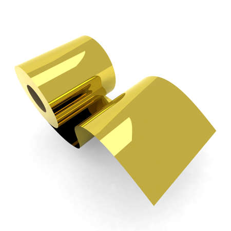 toilet roll: roll toilet paper gold 3d illustration