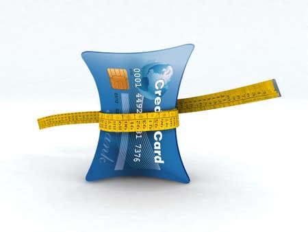 squeezed: carta di credito in misura 3d illustrazione nastro