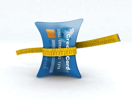 squeezing: credit card in measuring tape 3d illustration