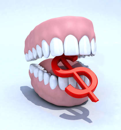 denture and dollar symbol, dental expenses concept photo
