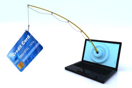 scam: notebook privacy security concept 3d illustration Stock Photo