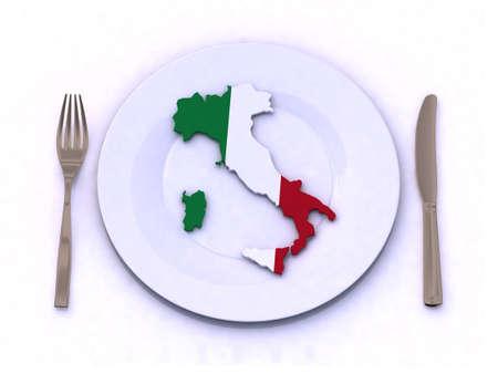 restaurante italiano: placa con Italia, mapa, ilustraci�n 3d