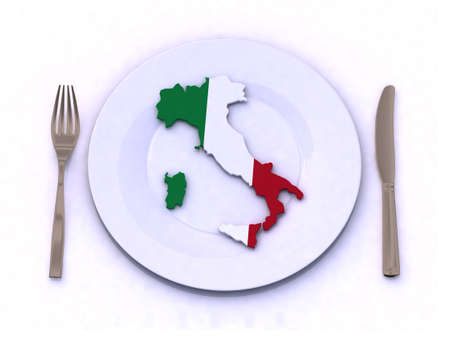 mediterranean cuisine: plate with italy map 3d illustration