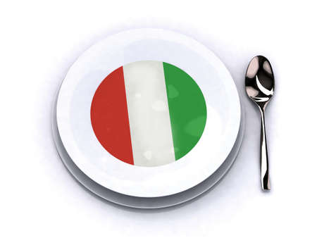 plate with italy soup 3d illustration illustration