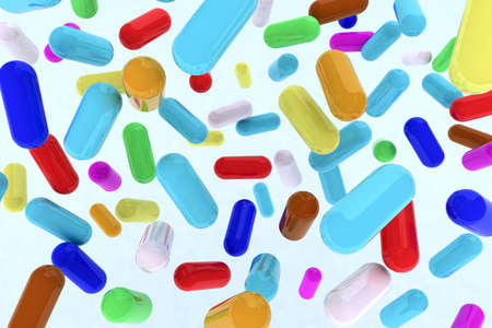 many pills on the air 3d illustration Stock Illustration - 15052877