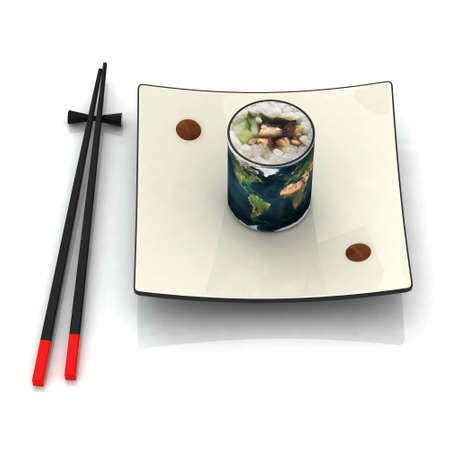 origin: plate of sushi with earth map 3d illustration Stock Photo