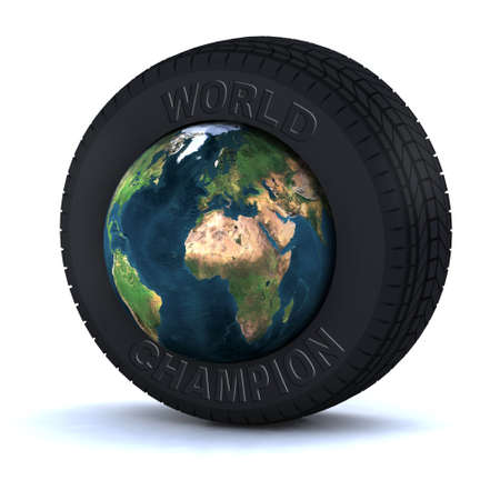 repair shop: tire with the world inside 3d illustration