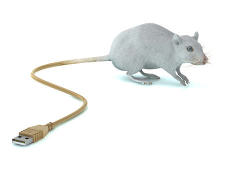 exterminate: Mouse with USB tail 3d illustration