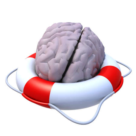 think safety: brain in a lifesaver 3d illustration