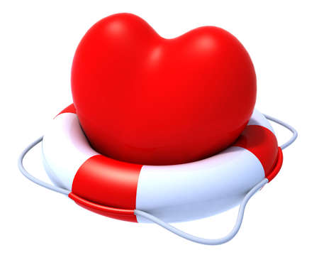 truelove: heart in a lifesaver, 3d illustration Stock Photo