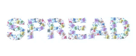 takings: written spread made with euro banknotes 3d illustration