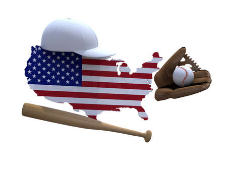 new york map: american map with flag, baseball hat, glove, ball and bat 3d illustration