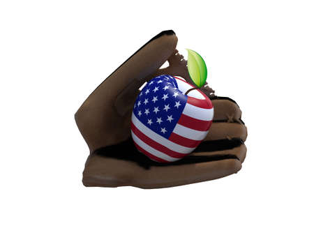 big apple: baseball glove and apple with the peel at American flag, 3d illustration Stock Photo