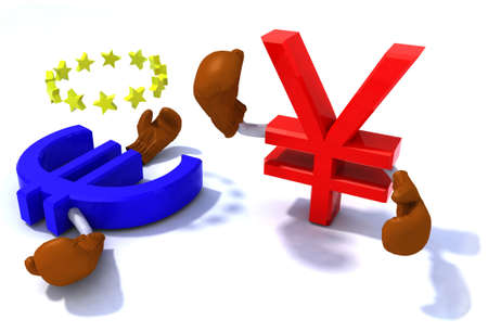 symbol of the yen and euro fighting with boxing gloves, 3d illustration Stock Illustration - 15590404