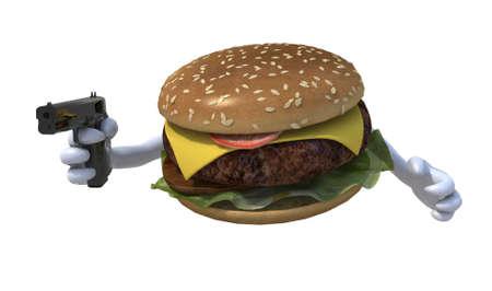 excalibur: hamburger with hands and gun, 3d illustration