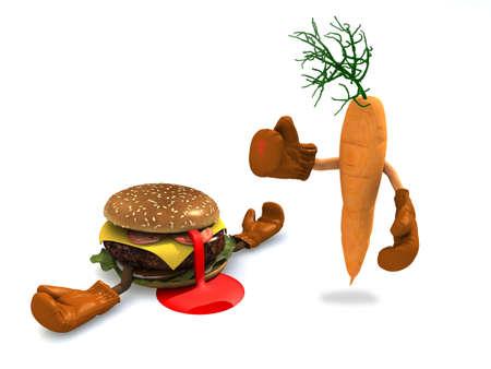 malos habitos: hamburguesas y zanahoria esa pelea, el ganador es el de zanahoria con vitaminas Foto de archivo
