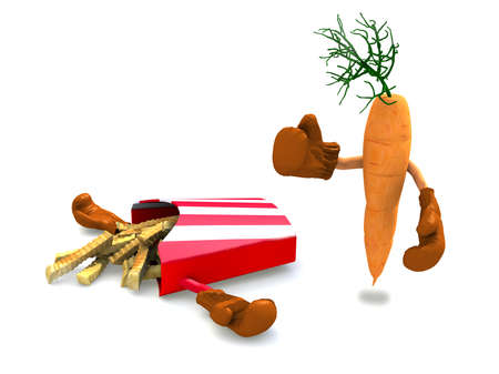 knock out: potato chips and carrot that fight, the winner is the carrot with vitamins Stock Photo