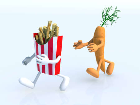 eating habits: running competition between carrot and potato chips, 3d illustration Stock Photo