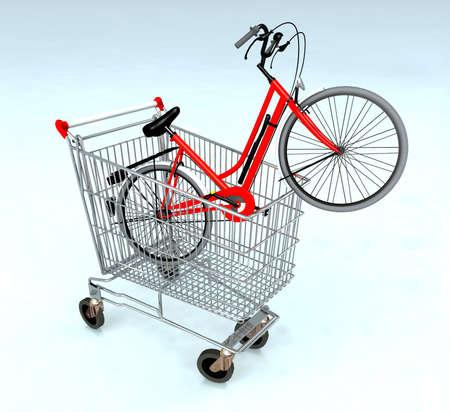 e コマースの概念中自転車で買い物カゴ