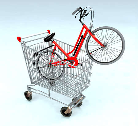 shopping cart with bycicle inside, ecommerce concept photo