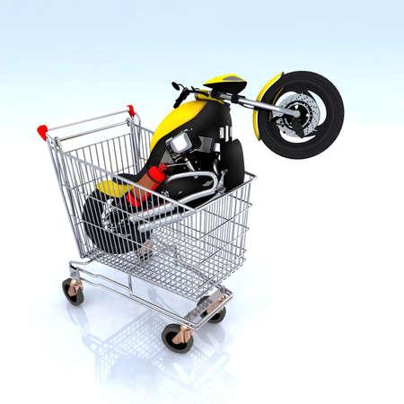 オートバイの 3 d 図は、ショッピングカートの中