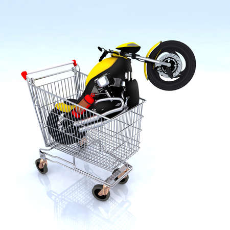 online auction: motorcycle inside the shopping cart, 3d illustration