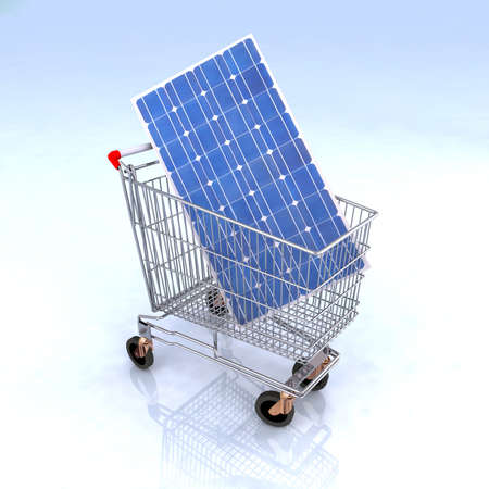 shopping cart with solar panel inside, renewable energy commerce concept Stock Photo