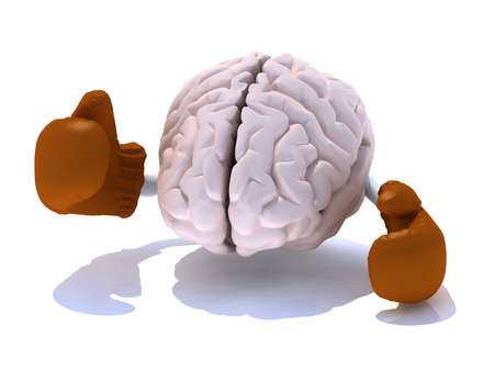 brain with boxing gloves in a fight, 3d illustration Stock Illustration - 15590408