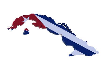 플래그 일러스트와 함께 쿠바의 3 차원지도