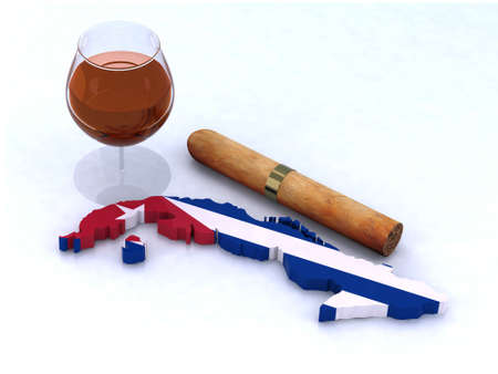 cuban 3d map with flag, glass of rum and big cigar on white background photo