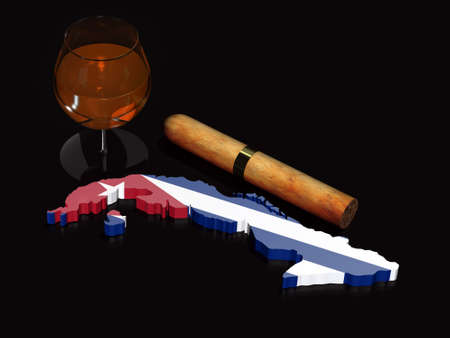 cuban 3d map with flag, glass of rum and big cigar on black background photo