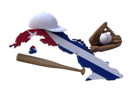 CUBA FLAG: cuban map with flag, baseball hat, glove, ball and bat 3d illustration Stock Photo