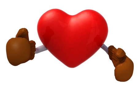 heart attacks: heart with boxing gloves fighting, 3d illustration