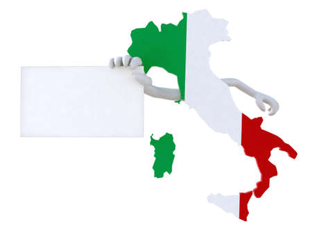 italy flag: italy map showing blank banner with cartoon arms Stock Photo
