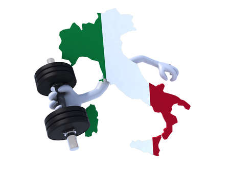 the italian map which makes weight training, 3d illustration on white background illustration