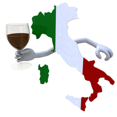 docs: map of Italy cheers with a glass of red wine