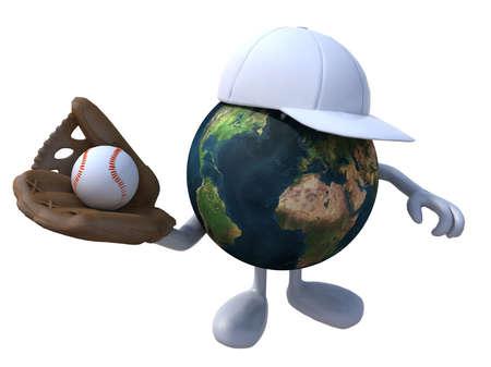 guante de beisbol: el mundo con un guante de béisbol, pelota y sombrero, ilustración 3d