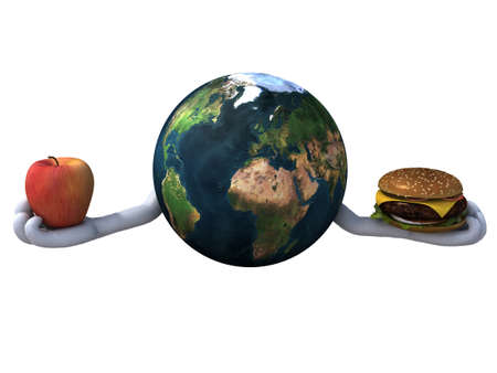 world with two hands, burger and apple, 3d illustration Stock Illustration - 15590389