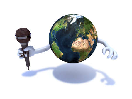 cartoon earth: the world with a microphone, 3d illustration