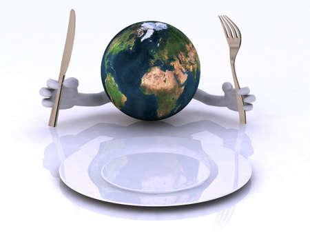 hambriento: el mundo con las manos y los utensilios delante de un plato vac�o