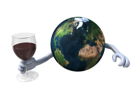 the world cheers with a glass of red wine photo