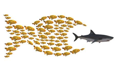 groupe de poissons chassant le requin, l'unité fait la force notion, illustration 3d Banque d'images