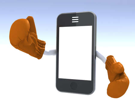 smartphone with boxing gloves in action photo