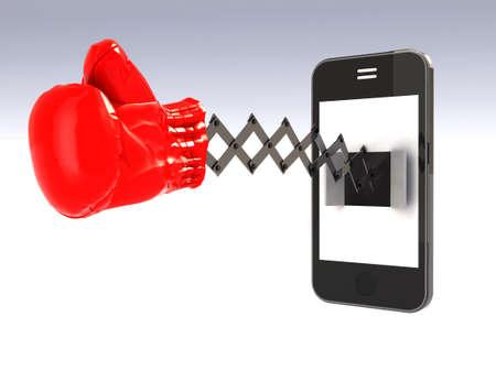 cuckoo clock: smartphone con guante de boxeo que sale de la pantalla como un reloj de cuco