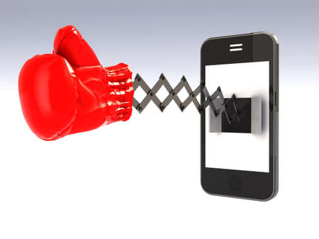 smartphone with boxing glove that comes out from the screen like a cuckoo clock photo