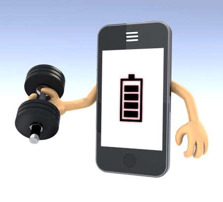 smartphone gewicht opleiding, concept lange levensduur van de batterij, 3d illustratie