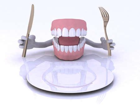 plato del buen comer: dentaduras con las manos y cubiertos frente a un plato vac�o