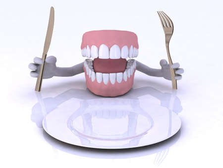 dentures with hands and cutlery in front of an empty plate photo